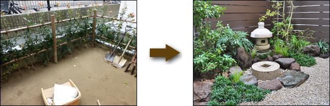 生垣を撤去して施工した和風のお庭
