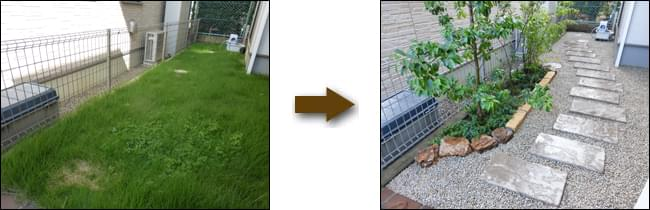 芝生を撤去したお庭リフォーム