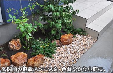 豊島区K様邸 玄関前のスペースを明るい色彩の小庭に