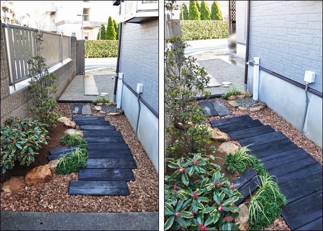 玄関から眺める小さな庭とアプローチ