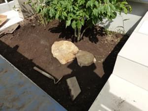 庭石による植栽部分のデザイン決め