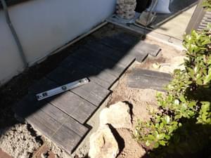 枕木アプローチの施工