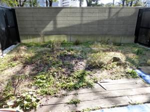 施工前の専用庭