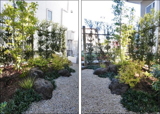 植木の高さそれぞれを散りばめる事で立体感を感じられるお庭に。
