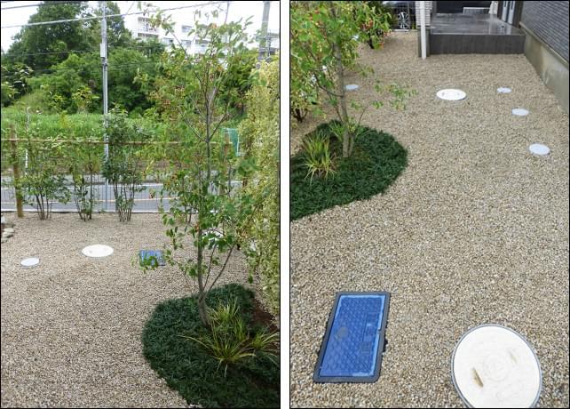 庭全体に施工した砂利敷きの雑草対策