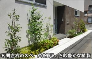 玄関左右を色彩豊かに彩る植栽施工-江戸川区M様邸