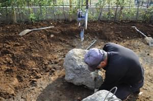庭石据え付け面の確認