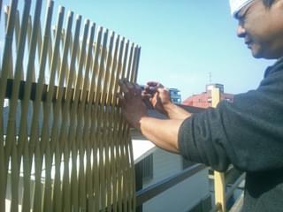 竹材の編み込み