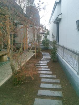 既存通路を包む植栽