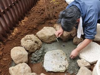 手水鉢設置部の排水処理