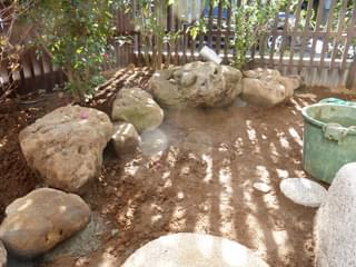 植栽周囲の庭石組み