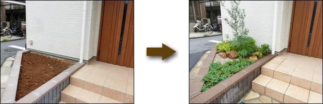 玄関前の三角花壇をお住まいを引き立てる小さな洋庭に-足立区Y様邸