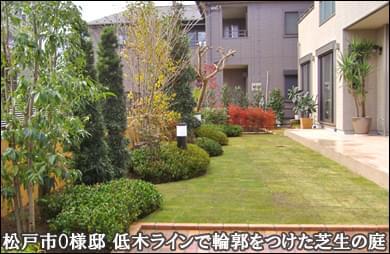 植木の持つ色彩配置を活かした明るい洋風ガーデン-松戸市O様邸