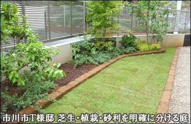 芝生と植栽のエリアを明確に分けたお庭-市川市T様邸