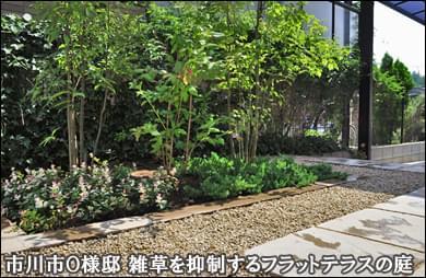 簡易ウッドフェンスと洋風平板テラスのお庭-市川市O様邸