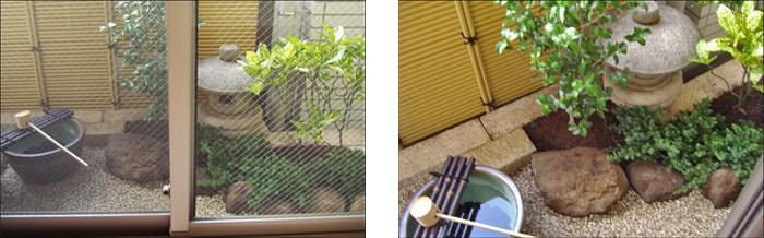 バルコニーを坪庭デザインによって優美な空間に