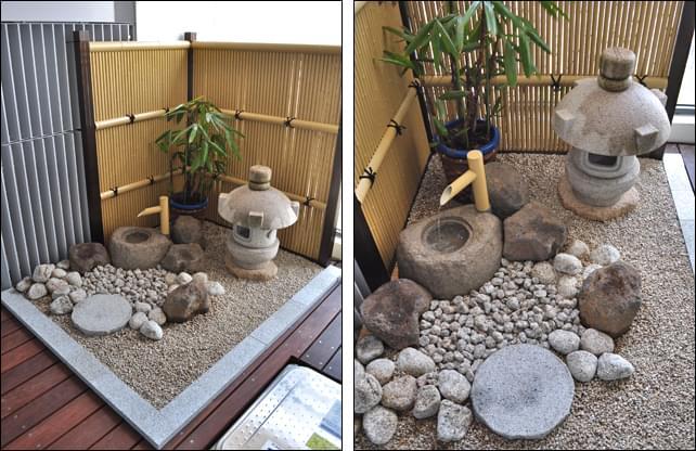 人工竹垣が一層の坪庭風情を演出