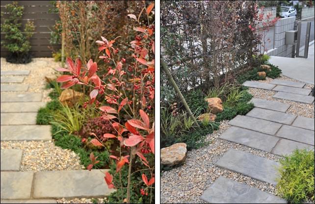 アプローチに添える季節感溢れる植栽