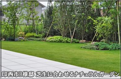 芝生に合わせる洋風ナチュラルガーデン-印西市B様邸