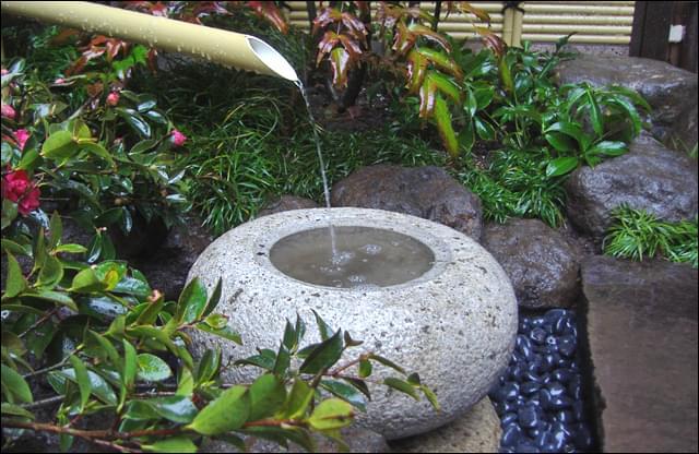 手水鉢へ静かに水を落とす筧