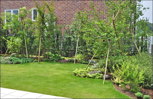 風通しを確保しながら目隠しの植栽もレイアウト