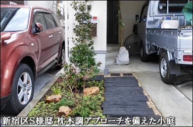 枕木風の玄関アプローチを兼ねたコンパクトガーデン-新宿区S様邸