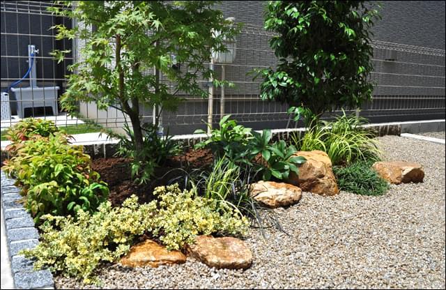 低木類と庭石のデザイン