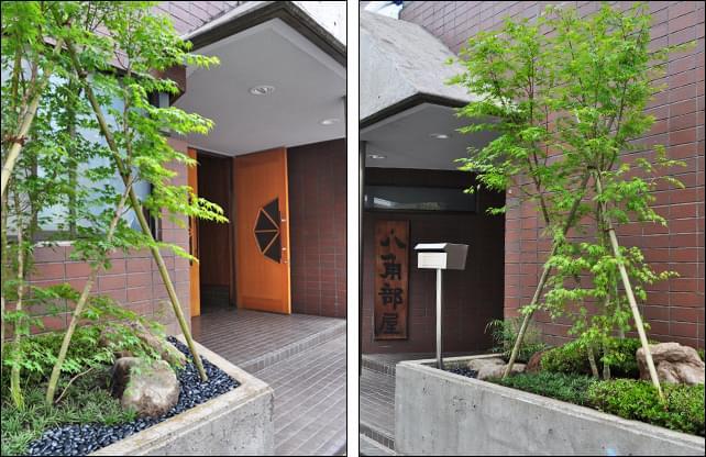 黒玉砂利と植栽を分ける坪庭デザイン