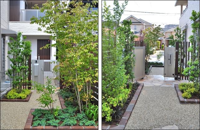 植栽は高低差を付け、お庭として奥行き感を感じる様に配置