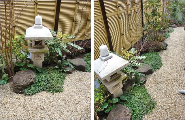 日陰に佇む露地風デザインの小庭
