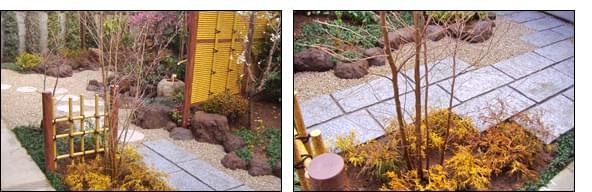 御影石によるテラスと人工竹垣