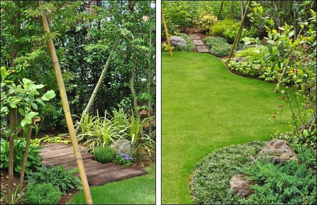 自然石を配し枕木アプローチも備えた庭デザイン