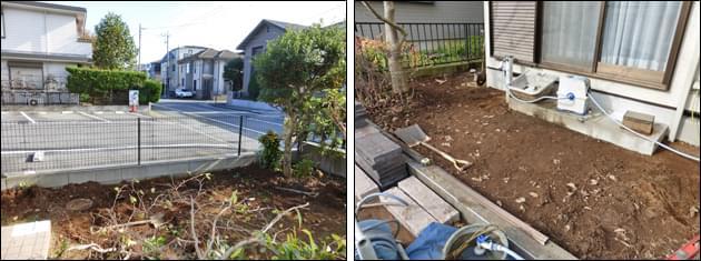 雑草対策・目隠し対策前のお庭