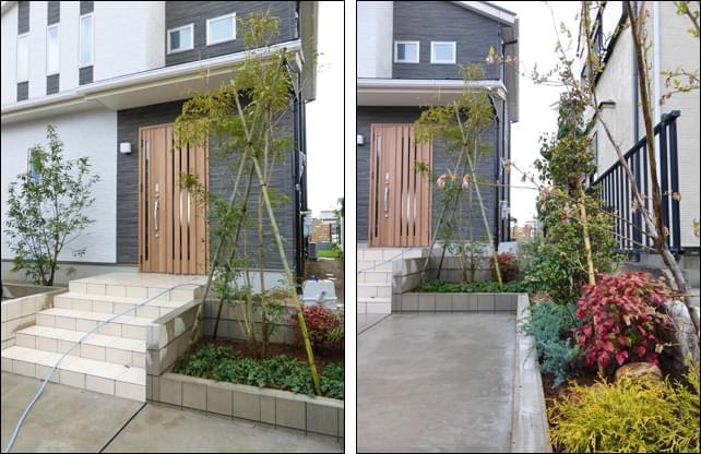 玄関までのアプローチを賑やかに彩る植栽レイアウト