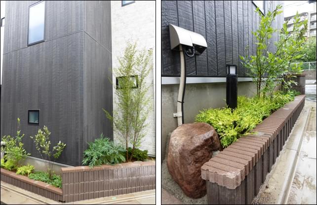 高低差のある2ヶ所の花壇。土留めの庭石も使用して充実させました。