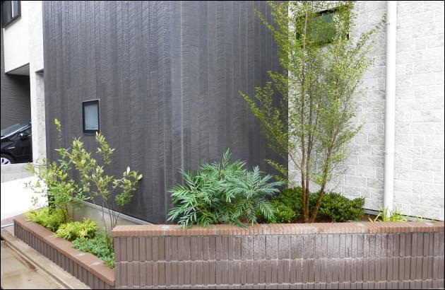 自然樹形の植木を存分に放任させる植栽レイアウト