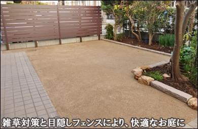 樹脂ウッドフェンスと雑草対策で快適なお庭へ-稲毛区T様邸