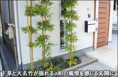 玄関前に和風情緒を感じる竹の植栽を-墨田区E様邸