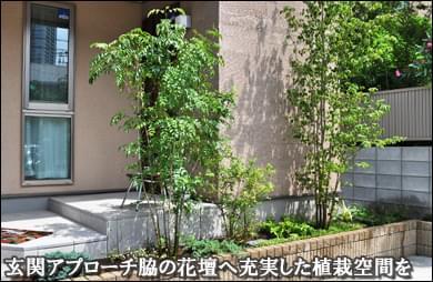 玄関脇の花壇へ目隠しを兼ねた自然味ある植栽を-市川市S様邸