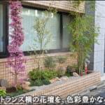エントランス横の花壇を明るい小庭にリフォーム-千代田区Mビル様