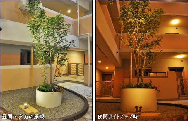 マンションのメインエントランス内に大型プランター植栽を設置
