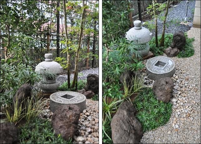存在感を中和する様に庭の奥へ据えた岬燈篭