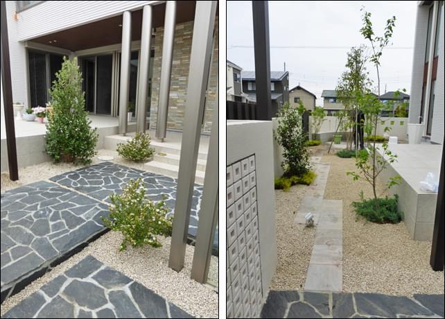 玄関周りは三角構図の植栽レイアウト