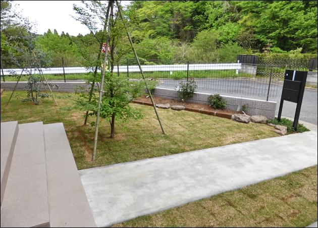 傾斜を付けた芝生が広いお庭をまとめます