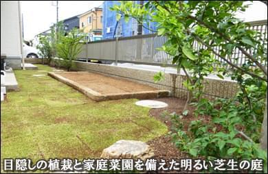 目隠しの植栽と家庭菜園を備えた芝生の庭-市川市T様邸