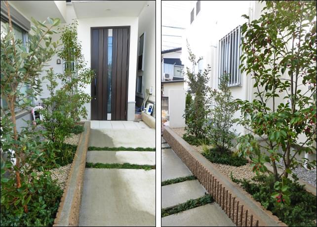 玄関アプローチを彩る様な植栽レイアウト