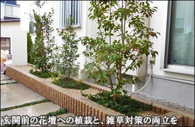杉並区E様邸 花壇の中で植栽と雑草対策の両立を