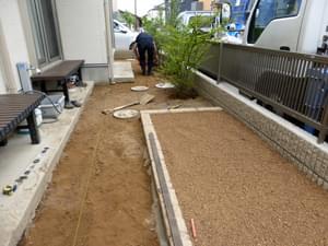 芝生施工前の整地処理