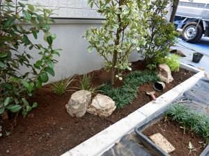 庭石の大きさにもバランスを考慮します