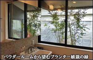 市川市A様邸 パウダールーム窓に添えたプランター植栽
